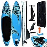 vidaXL Juego de Tabla de Paddle Surf Hinchable Inflable Portátil Deporte Viaje Piscina Lago Bomba Manual Estable Duradero Azul 320x76x15 cm