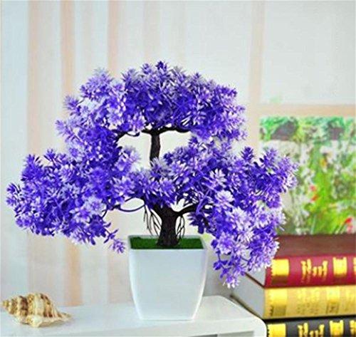 weiwei Simulación floral, decoración de mesa de salón, pequeños adornos en maceta, plantas de plástico verde, muebles bonsái, verde, trumpet welcoming pine bonsai blue