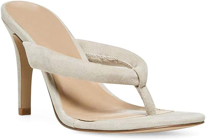 Women's Suede Fine High Heel Flip Flops Round Head Open Toe High Heel Sand Drag Everyday Wear Flip Flop (Heel Height  12 cm)
