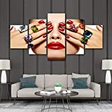 Sandalenka Pintura de Lienzo de 5 Paneles, salón de Belleza, Maquillaje de Labios de Ojos Hermosos, Lienzo de uñas, Arte de Pared y póster para Sala D