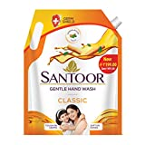 Santoor Classic Gentle Hand Wash, 1500ml with Natural goodness of Sandalwood & Tulsi