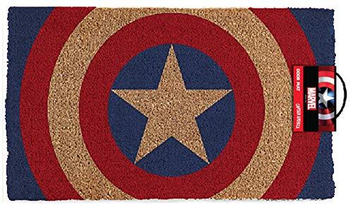 Pyramid America Capitán América Shield Felpudo, Multicolor