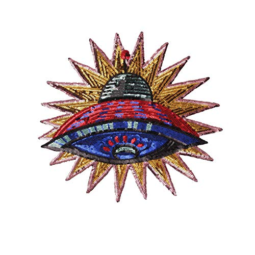HMQD Sequined Alien UFO Patch Cartoon Garment Appliques Sew On Clothes Coat Accessory Planet Stickers Patches