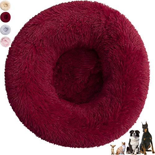 Cuccia Cane Interno, Cuscino per Cani Grandi, Cuccia Pelosa per Cani e Gatti Grandi e Piccoli Lavabile (60 cm, Rosso scuro)