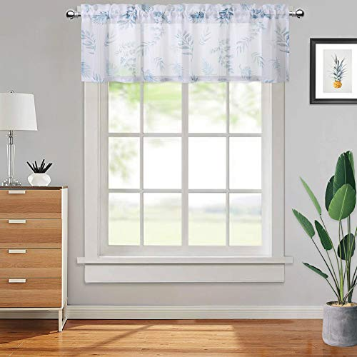 CAROMIO Small Sheer Curtains, Leaf Printed Grommet Window Voile Curtain Semi Voile Drapes 1 Panel for Kitchen Bathroom Study Room, 54 x 15 Inch