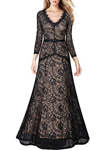 MIUSOL Damen Abendkleid 3/4 Ärmel Spitzen V-Ausschnitt Maxi Heimkehrkleid Brautkleid Festkleid Cocktail Schwarz S