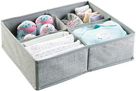 mDesign organiseur pour bébégrande bote de stockage à 4 compartiments pour couches lingettes etcidéal comme caisse de rangement pour jouetscouleurgris