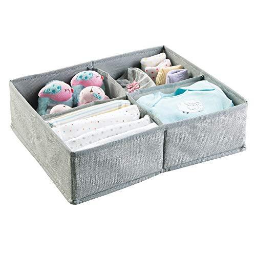 mDesign - Lade-organizer voor kinder-/babykamers - voor ladekasten en kledingkasten - ruim/4 compartimenten/zacht/stof - Grijs