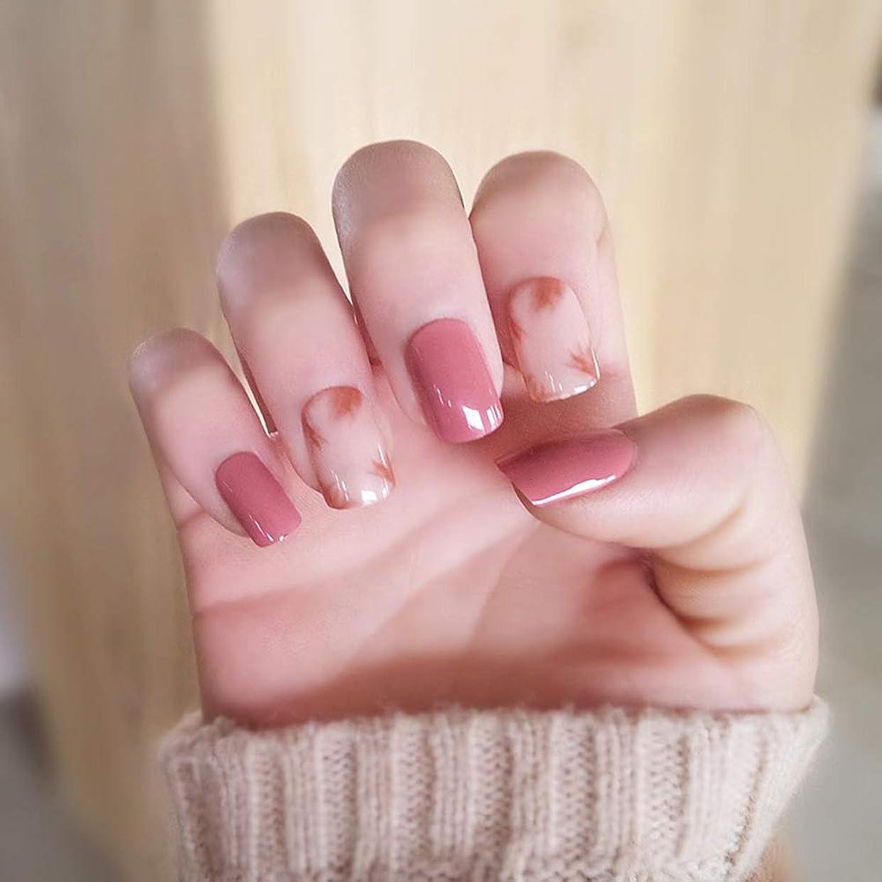 乱雑ななる苦悩XUTXZKA 家のためのネイルのヒントに24個/セットキラキラつま先偽の爪ピンクの短い正方形のプレス
