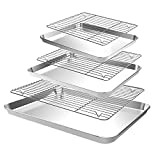 CEKEE Baking Sheet with Cooling Rack, 6pcs (3 Pans + 3 Racks) Stainless Steel Baking Pan Tray Set with Wire Rack, Dishwasher Safe & Oven Safe, for Cooking, Roasting, Grilling (9+12+18Inch)