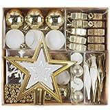 Valery Madelyn 52Pcs Bolas de Navidad de 3-5cm, Adornos de Navidad para Arbol, Decoración Navideños Plástico Blanco y Dorado, Regalos de Colgantes de Navidad (Elegante)