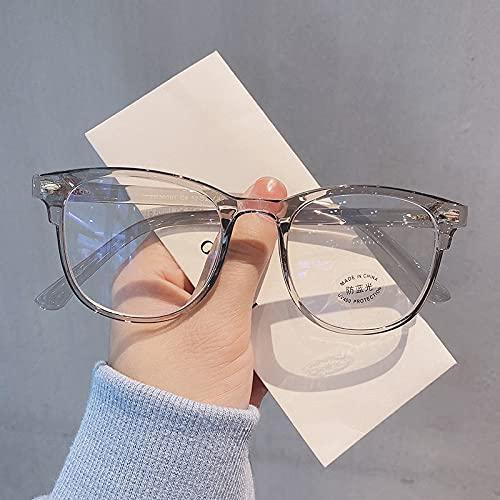 TEYUN Gafas de computadora Transparentes Marco Mujeres Hombres Anti Azul Luz Redonda Gafas Bloqueo Bloqueo Optical Spectacle Gafas (Color : Gray)