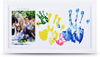 NWK DIY Family Photo + Family Hand/Footprints Kit with 10 X 17'' Elegant White Wood Picture Frame, Non-Toxic Watercolor Paints, Family Gift, Registry Keepsakes Mother's Father's Day Gift