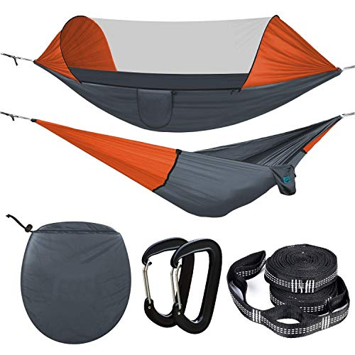 Voroly Outdoor Gear Camping Hammock with Mosquito Net Ripstop Nylon Ultralight Hammock Tent Bundle with Bug Netting Straps Carabiners
