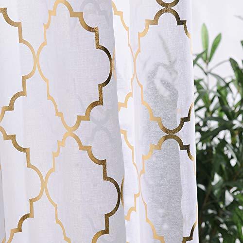 Cortinas transparentes de 114,3 cm de largo para ventanas de cocina, cafeterías, cortinas de media ventana, dobladillo para barra, filtrado de luz, cortinas cortas, 2 paneles, color oro blanco