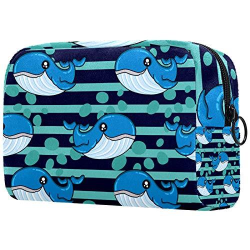 AITAI Bolsa de maquillaje grande bolsa de viaje cosmético organizador azul rayas burbujas ballena