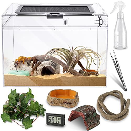 Reptile PC Glass Terrarium - Amphibians Tank Starter Kits, Acrylic Anti Breakage 12x9x7 inch, Top Sliding Door Screen Ventilation Mini Habitat Cages, Hygrometer, Hide Cave, Vines, Tweezer, Sprayer