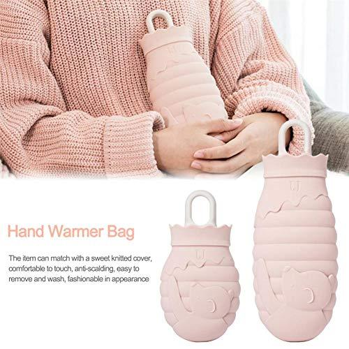 PITCHBLA Pink Mini Handwärmer-Tasche mit kleinem Bärenmuster, wiederverwendbare Wärmflasche aus Silikonmaterial, kann mit dem Mikrowellen-Handwärmer beheizt werden