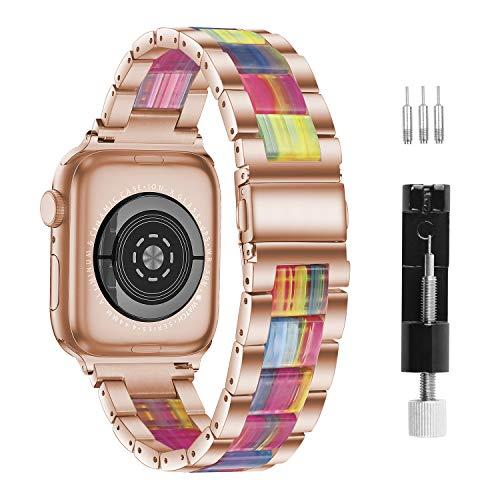 GraceTeng, Cinturino compatibile per Apple Watch, 38 - 40 mm / 42 - 44 mm, serie 6 / 5 / 4 / 3 / 2 / 1, cinturino in resina con fibbie in acciaio inox, per uomini e donne