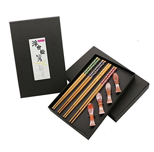 Exzact EX-CS04 Set de Regalo de Palillos - 4 Pares de Palillos de bambú Natural Reutilizables con 4 Piezas de palitos de Madera - en una Hermosa Caja Hecha a Mano Negra - Estilo japonés Decorado