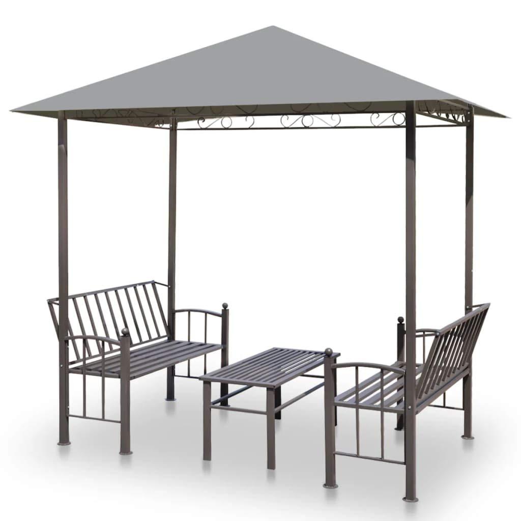 ghuanton Pérgola de jardín con Mesa y Bancos 2,5x1,5x2,4 m ...