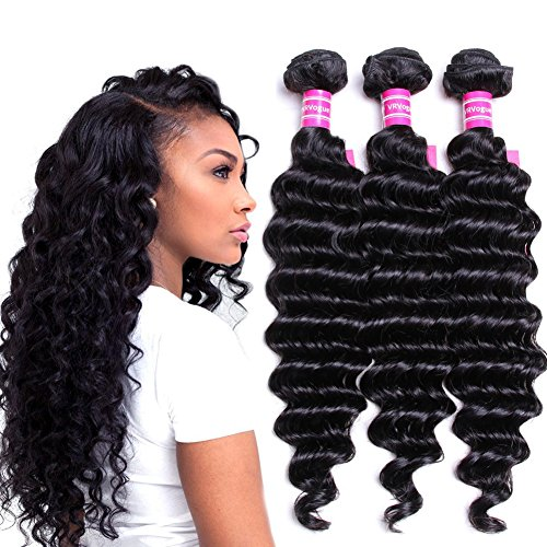 "VRVOGUE(12"" 14"" 16"") Deep Wave Brazilian Weave Hair Bundles 100% Unprocessed Natural Color Virgin Brazilian Human Hair Extensions (12 14 16)"