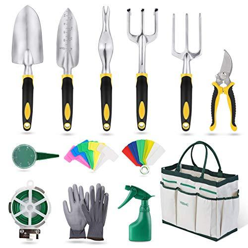 YISSVIC Gartenwerkzeug Set 12-teiliges Gartengeräte Set Gartenschere Gartenhandschuhe Gartentasche und Garten-Sprüher aus Edelstahl Gelb