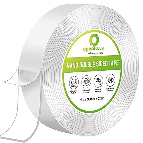 Cinta Adhesiva Nano, 400cm Cinta Adhesiva Transparente Extraíble Multifuncional sin Rastros, Cinta Adhesiva de Doble Cara Reutilizable Lavable Fuerte Agarre de Gel para Oficina,Alfombra, Cocina