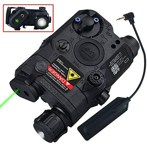ActionUnion Airsoft PEQ 15 IR Laser PEQ Box White Flashlight + Green Laser Sight with IR Upgrade Version Battery Box for AEG GBB CQB (Black)