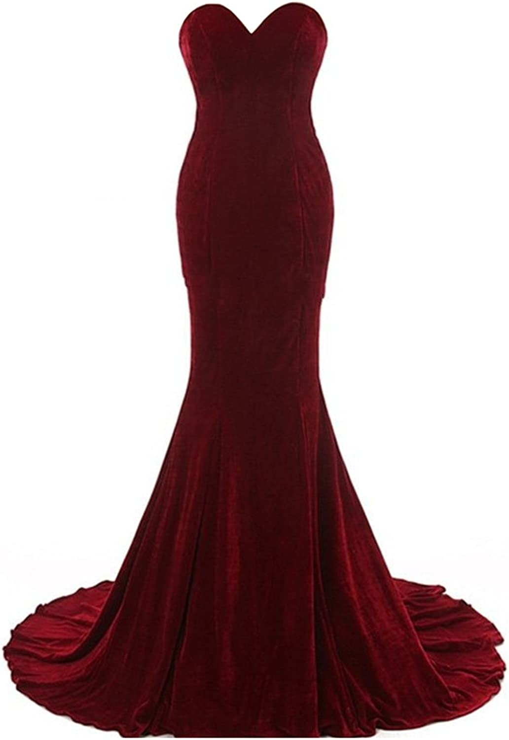 Honeydress Women's Mermaid Velvet Sweetheart Sweep Train Formal Evening Dress