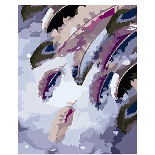 zglizty Lienzo con Pintura por Números Plumas De Colores DIY Pintura por Números Pint por Número De Kits For Adultos Decoraciones para El Hogar-16 * 20 Pulgadas(Sin Marco)