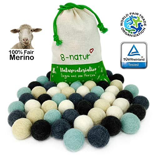 """8-Natur """"Mix Winter"""" Bunte Mischung aus 50 Filzkugeln 2,2cm dick aus Reiner Merinowolle zum Basteln von Girlanden, Baby Mobile und Filzkugelteppich oder einfach nur zur Deko"""