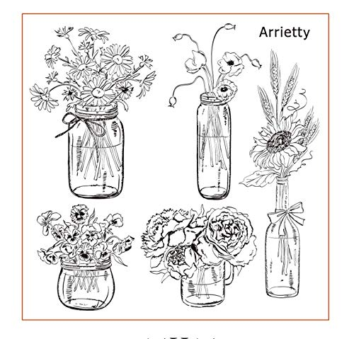 Vase Flowers Daisy Rose Poppy Vase Clear Stamps for Card Making Decoration and DIY Scrapbooking Tools