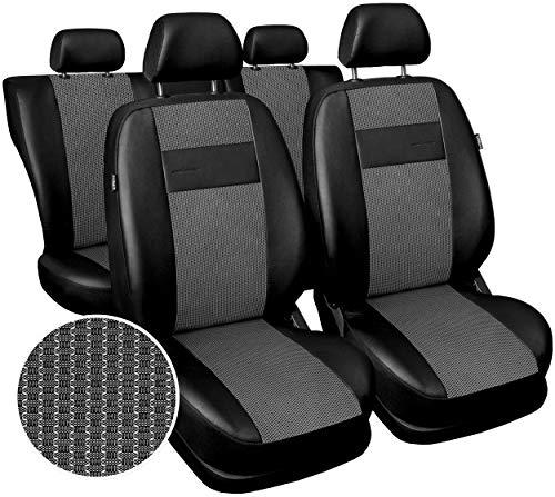 Carpendo Sitzbezüge Auto Set Autositzbezüge Schonbezüge Vordersitze und Rücksitze - Airbag geeignet - Schwarz Hellgrau - Exclusive E3