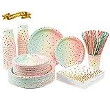 250PCS Colorful Paper Party Supplies -...