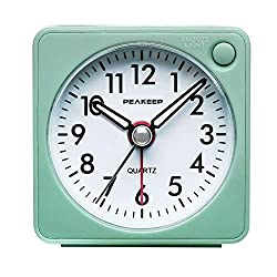 top rated Quiet, tick-free, Peakeeep Ultra Small battery-powered travel alarm clock with snooze and backlight … 2021