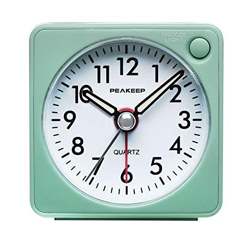 Ultra Small, Peakeep Battery Travel Alarm Clock with Snooze and Light, Silent with No Ticking Analog Quartz (Aquamarine)