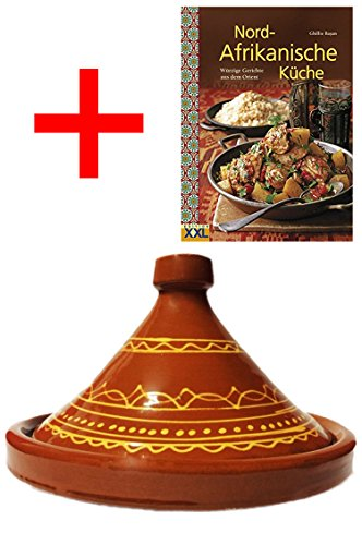 Marokkanische Tajine Topf zum Kochen + Kochbuch | Schmortopf glasiert Ferhan Ø 30cm, für 4-5 Personen | inklusive Rezepte Buch Nord Afrikanische Küche | ORIGINAL Tontopf handgetöpfert aus Marokko