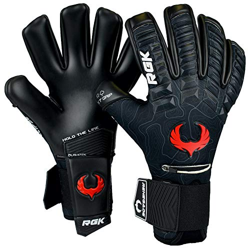Renegade GK Eclipse Ambush Professional Goalie Gloves | 4mm EXT Contact Grip & Breathaprene | Black, Red, White Soccer Goalkeeper Gloves (Size 8, Youth-Adult, Negative Cut, Level 5)