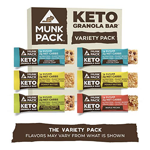 Munk Pack Variety Keto Granola Bars with 1g Sugar, 2g Net Carbs   Keto Snacks   Chewy & Grain Free   Plant Based   Gluten Free, Soy Free   No Sugar Added   6 Pack