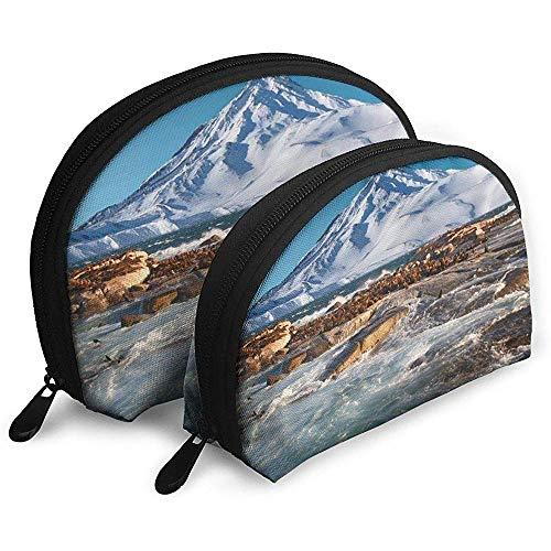 Seal Mountain Sea Tragbare Taschen Kosmetiktasche Kulturbeutel, Multifunktions-Tragbare Reisetaschen Kleine Make-up-Clutch-Tasche mit Reißverschluss