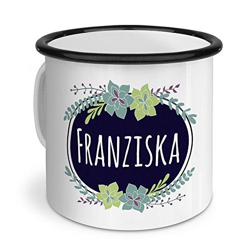 printplanet Emaille-Tasse mit Namen Franziska - Metallbecher mit Design Flowers - Nostalgie-Becher, Camping-Tasse, Blechtasse, Farbe Schwarz