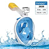 Innoo Tech Máscara de esnórquel de cara completa, 180 ° para buceo, para niños y adultos, máscara de esnórquel, cara completa, antivaho con soporte para cámara S/M Azul-s