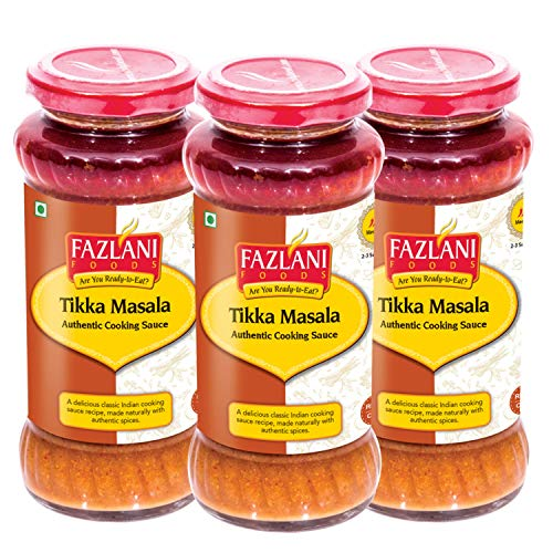 FAZLANI FOODS Ready to Eat Chicken Tikka Masala Sauce -Pack of 3 (285g Each) Glass Bottle | Delicious and Authentic Cooking Sauce Spread | No Preservatives, GMO-Free, Shelf Stable and Gluten-Free