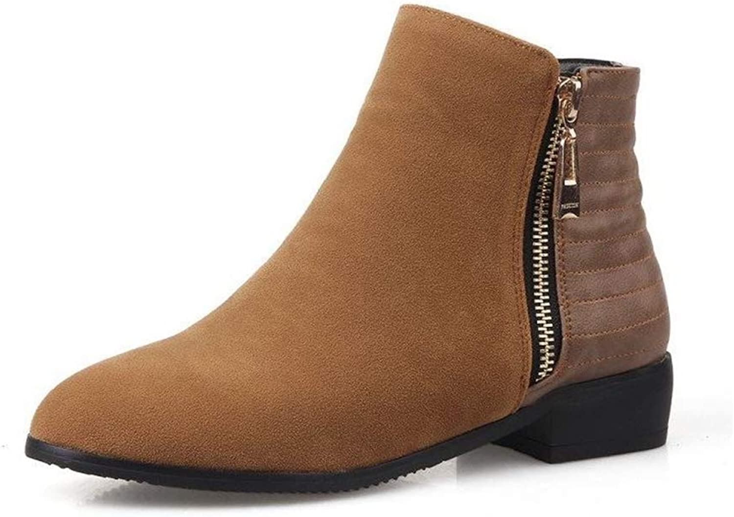 Edv0d2v266 Women Buckle Ankle Boots Fashion Winter Round Toe Low Chunky Heel Dress Booties