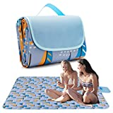 Pahajim Waterproof Picnic Blanket Large Picnic Mat Waterproof Picnic Mat Outdoor Picnic Blankets Waterproof Foldable for Picnic Camping Concerts Beach (Blue Purple, 57x79 Inch)