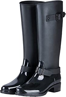 TQGOLD Bottes de Pluie Femme en Caoutchouc Talon Imperméable Zip Hautes Wellington Boots