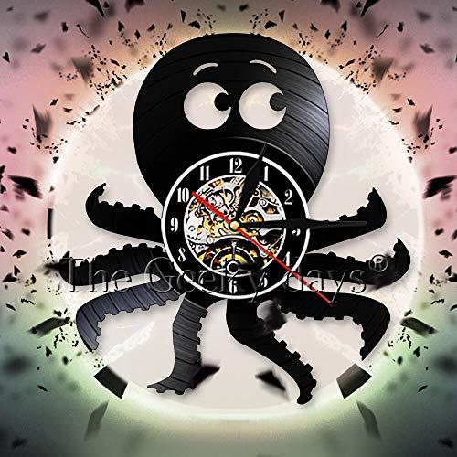 UIOLK Creatividad Retro Pulpo Animal Marino Reloj de Pared Reloj de Vinilo Creativo Reloj de Pared Pulpo Reloj de Pared 3D Decoración de la Pared de la habitación de los niños