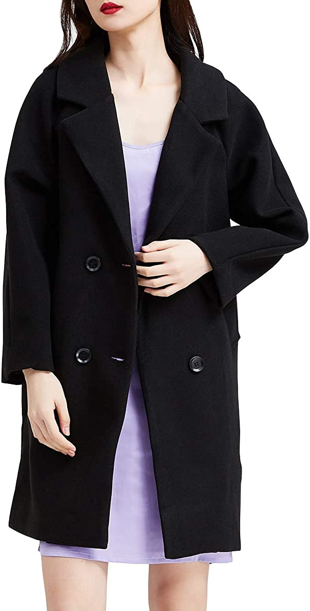 URLAZH Women/'s Pea Coat Double Breasted Trench Coat Slim Long Sleeve Mid-Long Overcoat