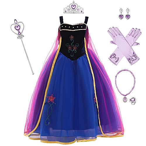OBEEII Disfraz de princesa Anna de Frozen para niña, disfraz de carnaval, Navidad, fiesta, Halloween, fiesta, con accesorios, 3-12 años Blue+purple02 6-7 Años